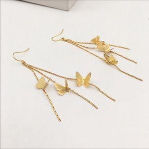 NWT Anthropologie Golden Butterfly Tassel Earrings